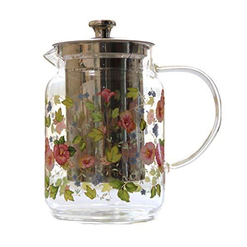 Teteras Pote del té Cristal de Las Hojas Intercambiables de Infuser del té de Cristal Trompeta Caldera de té con té de Fugas, Frío y hervidor de Agua Resistente, la Flor de la t