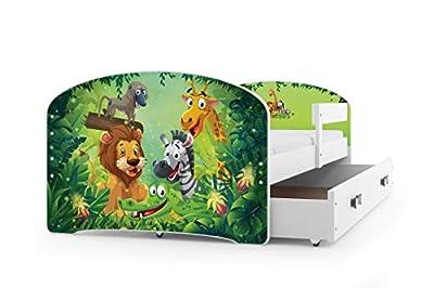 Cama individual LUKI - BLANCO,160X80, con cajón, somier y colchón de espuma GRATIS!