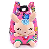 Suerico Rabbit Backpack Cute Kids Toddler Backpack Plush Toy Backpack Snack Travel Bag Pre-School Bags for Girls 1-5Years (Pink)
