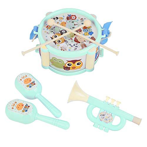 Garosa 6 STÜCKE Kleinkind Musikinstrumente Set, interessante Trommel Sandhammer Trompete Musikspielzeug für Baby Jungen Mädchen Kinder(Grün)