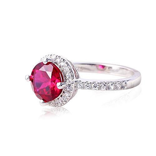 ATTA GEMS Women's Anniversary Wedding Ring Round 8mm Ruby Birthstone Sterling Silver Promise Ring Size 7