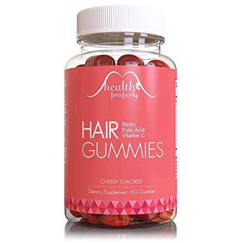 HEALTH PROPERLY - Hair Gummy Vitamins for Healthy Hair Growth | Scientifically Formulated 5000mcg Biotin Folic Acid | Hair Skin and Nails Vitamin | for All Types of Hair | Gummies for Women & for Men