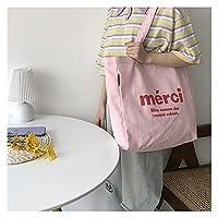 ンス キャンバス トートバッグ 高級デザイナーキャンバスハンドバッグレジャーとオールマッチの女性のショルダーバッグ学生スクールバッグ大容量オープンハンドバッグ 贈り物 (Color : Pink)