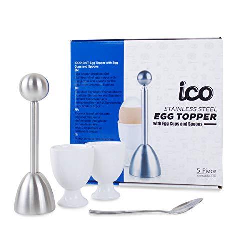 Impeccable Culinary Objects (ICO) ICO013 Edelstahl Eierköpfer & Eieröffner, Silver, 4 x 4 x 13 cm (Eierschneider Geschenkpackung)