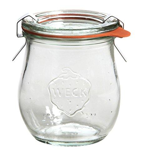Weck Vasetto Tulipano 220 ml con Coperchio da 60 mm, Completi di Guarnizione e Clips, Scatola da 12 Pezzi, Vetro, Trasparente