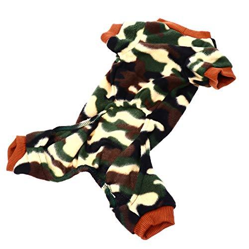 POPETPOP Pijamas de Camuflaje para Perros Mono Borroso Clido de Invierno Mono de Felpa Ropa de Disfraz Suter para Cachorro Pequeo Mediano Grande L