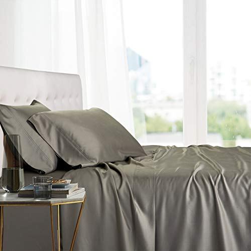 Royal Tradition Exquisitely Lavish Body Temperature-Regulated Bedding, 100% Viscose from Bamboo, 300 Thread Count, 4 Piece Queen Size Deep Pocket Silky Soft Sheet Set, Gray