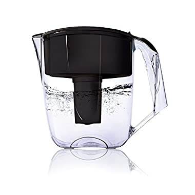 Ecosoft Water Filter Pitcher Jug - BPA-Free - Patent Commercial Grade Ecomix Filter Cleaners - 8 Cups Purified Water, 10 Cup Capacity with 1 Free Cartridge for Home Filtration, Black