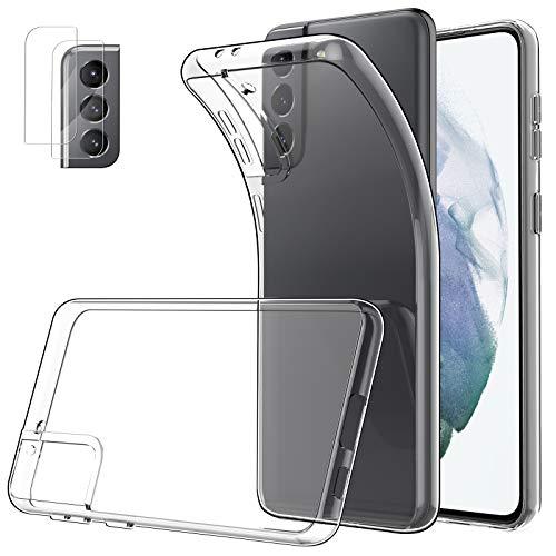 Simpeak Cover Compatibile per Samsung S21 5G con 2 Pezzi Vetro Temperato Lente Fotocamera, Silicone Trasparente Custodia Compatibile con Samsung Galaxy S21 5G 6,2
