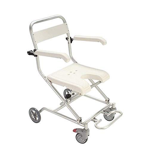 ASDF Multifunctionele douchestoel met zwenkwielen, verstelbare opklapbare armleuning wiel commode stoel voor senioren en mensen met beperkte mobiliteit