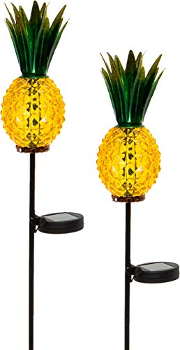 GreenLighting Outdoor Solar Pineapple LED Light - Glass Path Stake Lights for Patio and Garden 2-Pack