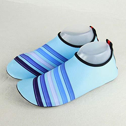 Lichtgewicht Duurzame Zool voor Strand Zwembad Zand, Mannen en vrouwen duiken snorkel schoenen, kinderen waden strand sokken-volwassen kleurenbalk blue_38-39, Vrouwen Yoga Beach Surf Swim Sokken voor
