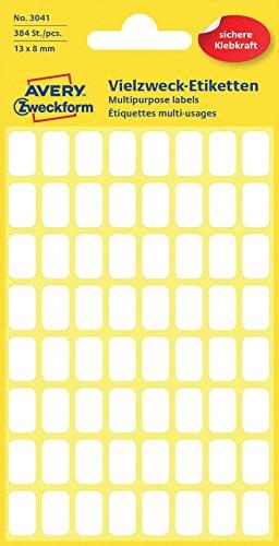 Avery Zweckform Haushaltsetiketten selbstklebend 384 Aufkleber auf 6 Bogen (13 x 8 mm, Art. 3041, Vielzweck-Etiketten für Haushalt, Schule und Büro zum Beschriften und Kennzeichnen) blanko, weiß