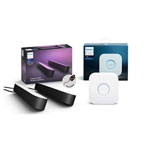 Philips Hue White and Color Ambiance Play Lightbar Doppelpack inkl. Hue Bridge, dimmbar, bis zu 16 Millionen Farben, steuerbar via App, kompatibel mit Amazon Alexa, schwarz
