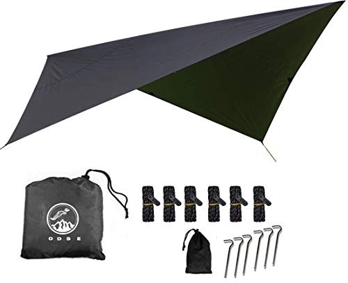 ODSE Outdoor Skye 10x10 Feet Rain Fly Hammock Tent Tarp for 2000PU Waterproof Protection - Large Canopy is Portable and Provides Ideal Shelter for Your Camping Hammock or Tent (Black)