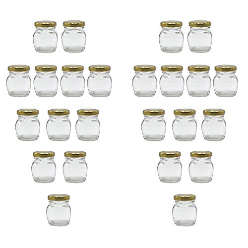 U-Pack 2oz Glass Jar With Gold Lid For Honey Jam Spice pack of 24 sets