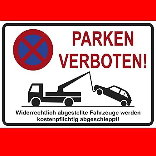 "Schild \""Parken Verboten\"" Hinweisschild 300x200 mm stabile Kunststoffplatte 3mm stark NEU"
