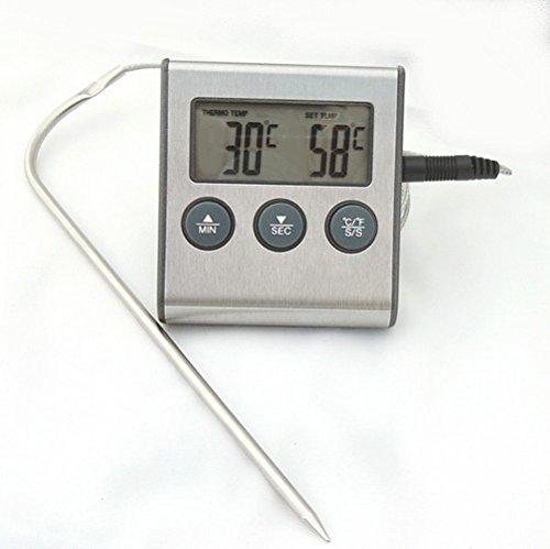 elektronisches Einstich-Bratenthermometer ET921 Fleischthermometer, 2-teilig, bis 250°C hitzefestes Sensorkabel, Timer bis 99Min.99Sek, silber