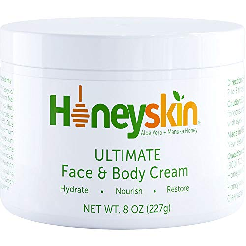 Honeyskin Manuka Honey Face and Body Moisturizing Cream - For Dry Itchy Sensitive Skin - Redness, Eczema, and Rosacea - Skin Tightening Moisturizer Lotion - Natural Aloe and Coconut Oil (8 oz)