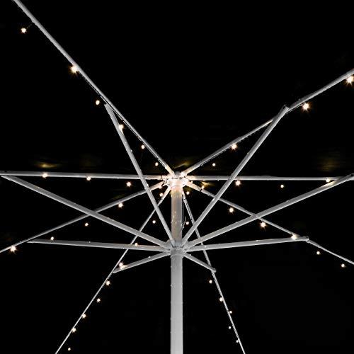 72 LED Solar Lichterkette warmweiß für Sonnenschirm 8 Stränge á 1,45 m je 9 LED Sonnenschirmbeleuchtung Blinkfunktion