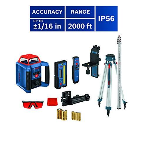 Bosch REVOLVE2000 GRL2000-40HVK Exterior 2000ft Range Horizontal/Vertical Self-Leveling Cordless Rotary Laser Kit with Tripod, 13ft Grade Rod and Laser Receiver