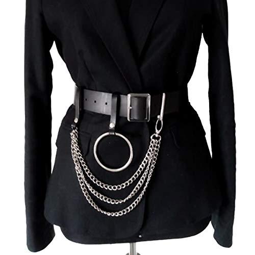 HOMELEX Damen Punk Leder Gürtel Belt mit Metallkette Ring Taille Einstellbare Harness Rollenspiel Kostüm (LP65)
