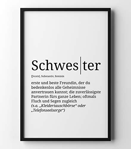 Papierschmiede Definition: Schwester   DIN A4   Poster mit Worterklärungen wie im Duden für Deine Wanddeko   Kunstdruck für den Bilderrahmen - ohne Rahmen