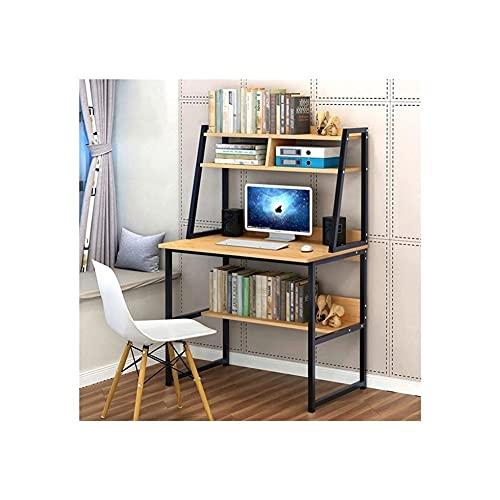 Escritorio de ordenador de 31 pulgadas con conejera y estantería, 3 estantes, escritorio de escritorio para sala de estar, dormitorio
