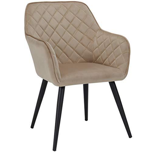 Duhome Esszimmerstuhl aus Stoff (Samt) Farbauswahl Retro Design Armlehnstuhl Stuhl mit Rückenlehne Sessel Metallbeine 8058, Farbe:Cappuccino, Material:Samt