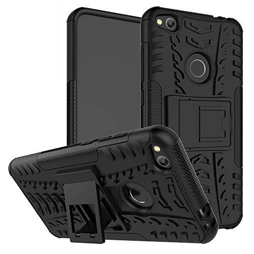 MAMA MOUTH Huawei P8 Lite 2017 Funda, Heavy Duty Silicona híbrida con Soporte Cáscara de Cubierta Protectora de Doble Capa Funda Caso para Huawei P8 Lite 2017 Smartphone,Negro