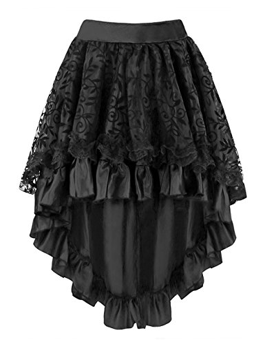 Falda asimétrica Burvogue, con corsé, para mujer de estilo steampunk Negro negro X-Large