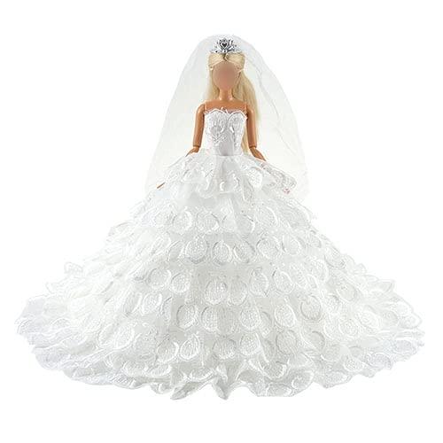 Festfun Robe de Mariage Poupée avec Un Voile Robe de Mariée Broderie Floral Blanche Robe Princesse élégante pour Poupée Fille de 11,5 Pouce