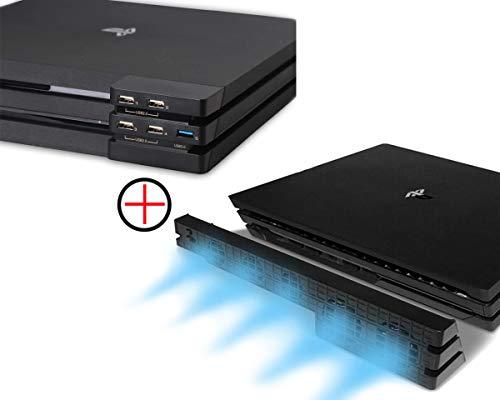 PeakLead PS4 PRO Ventola di Raffreddamento & 5-Port USB Hub Combo Kit Automatico Temperatura USB External 5 Turbo Cooling Fan Cooler USB3.0 Adattatore per Console di Gioco Sony Playstation 4 PRO