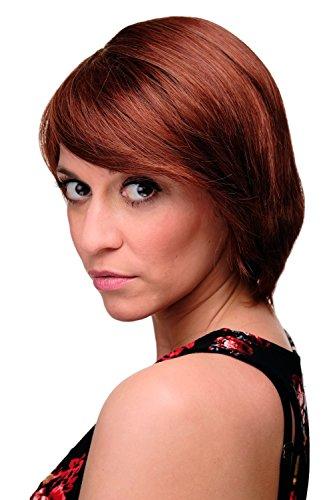 WIG ME UP - Perruque courte femme mélange de brun et rouge lisse frange raie côté env. 25 cm 6082-33A/130
