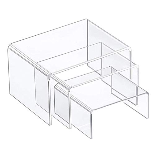 roosteruk 3 Sätze Acryl Display Riser Transparent Perfect Display Stand Kit, Ständer/Candy Dessert Tisch