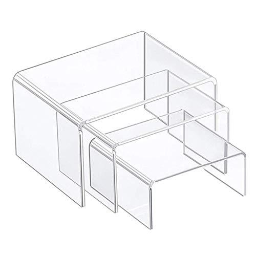 iBaste 3er/Set Klare Acryl Display Risers, Acryl Riser Transparent Perfect Display Stand (3 Größen)