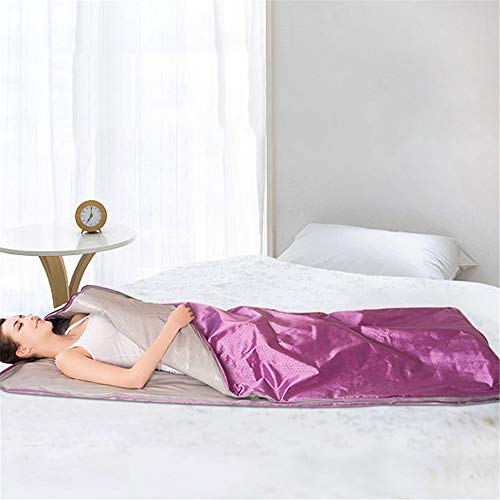 ETE ETMATE FIR Sauna Blanket, 2 Zone Controller Digital Heat Sauna Slimming Blanket Body Shaper Professional Detox Therapy Anti Ageing Beauty Machine (Purple)