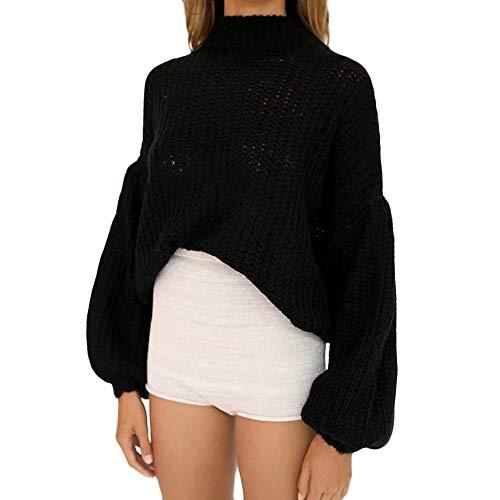 Deelin lantaarn voor herfst en winter, lange mouwen, ronde hals, solide kleur, modieus, casual trui van gebreide top blouse