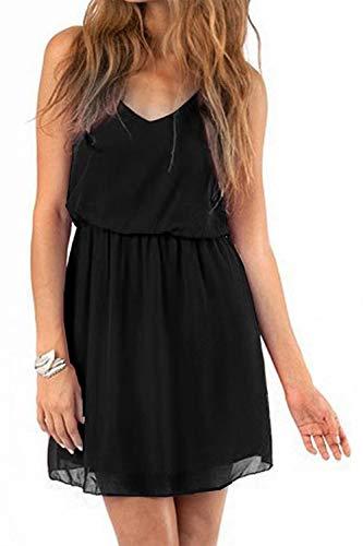 Cassiecy Damen Sommerkleid Ärmellos V-Ausschnitt Chiffon Casual doppel Schulterrieme Elegant Minikleid Partykleid(Schwarz XXL)