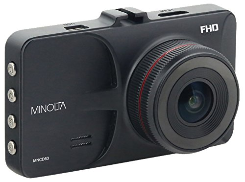"Minolta MNCD53-BK Full HD 1080p Wide Angle Car Dashboard Camera with G-Sensor, WDR, Loop Recording & 3"" LCD, Black"
