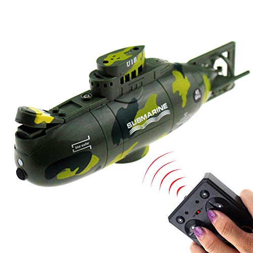 Tipmant Mini RC Submarine Remote Control Boat Ship Military Model Electronic Water Toy Waterproof Diving for Fish Tank Water Tub Kids Gift (Green)