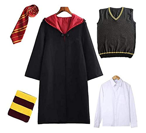ZXC-Harry-Costume-Kids-Adult-Cloak-Unisex-Gryffindor-Slytherin-Ravenclaw-Hufflepuff-Cosplay-Outfit-Set-Cape-Tie-Shirt-Vest-Scarf-Carnival-Boys-Girls-Magical-Robe-Wizard-Fancy-Dress-Cosplay-Costume