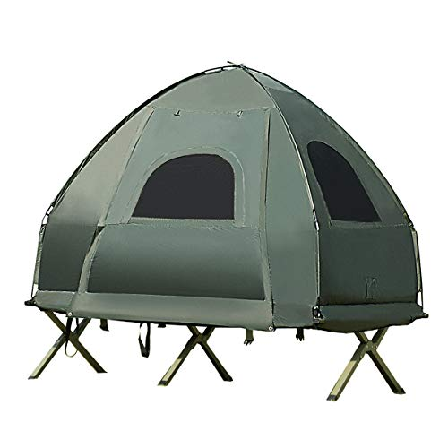 Single Tent Bed, Portable Camping Tent with Air Mattress and Pillow, Folding Camping Cot of Metal Frame, Single Sleep Bag with Polyester Canopy, for Outdoor Family Camping Picnic - Military Green