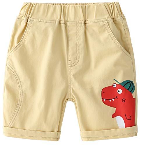 EULLA Pantalones cortos de verano para niños y bebés, diseño de letras, pantalones cortos para niños 06-crema 100 cm