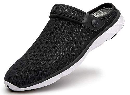 Unisex Clogs Hausschuhe Muffin Unten Alltägliche Drag Pantolette Sommer Beach Schuhe Sandalen für Damen Herren, E Schwarz Weiß, 42 EU