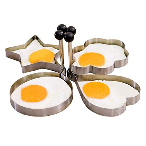 Paczo 4Pcs Stainless Steel Cooking Kitchen Fried Lovely Heart Shape Egg Shaper Ring Pancake Omelette Mould Mold