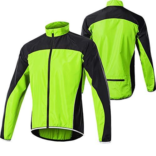 Giacca Ciclismo da Uomo,Ultraleggera Giacca da Ciclismo,Impermeabile Traspirante Cappotto della Bicicletta,Bici Giacche,Giacca per Mountain Bike Outdoor Giacca Sportiva(Size:L,Color:Verde)