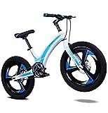 N&I Bike Kids Bike Boys Girls - Bicicleta infantil de 20 pulgadas, aleación de magnesio, con freno de doble disco, para 7 – 13 años, ajustable, color dorado y azul