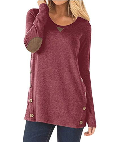 bjerka Damen Sweatshirt-s, Mädchen Sweater Langarm, Pullover Langarmshirt-s, elegant-er Streetwear Pulli-s, locker-es Oberteil-e, Rose Large Red L