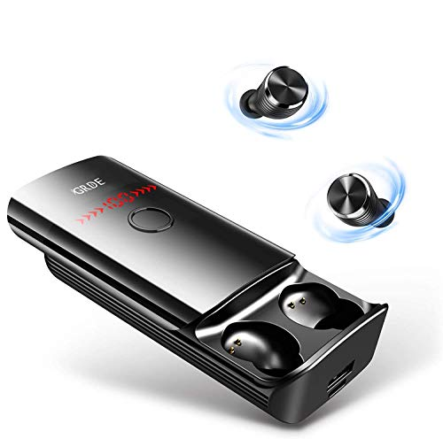 41HZWI1evDL - Bluetooth Headphones, VEATOOL 5.0 Binaural Call True Wireless Earbuds 20H Playtime HD Stereo Bass Sound Mini in Ear Bluetooth Earphones with Built in Mic and Charging Case for Sports Running